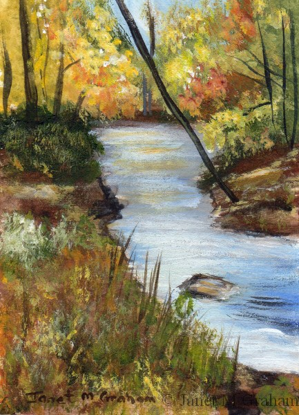 """Fall Stream ACEO"" original fine art by Janet Graham"