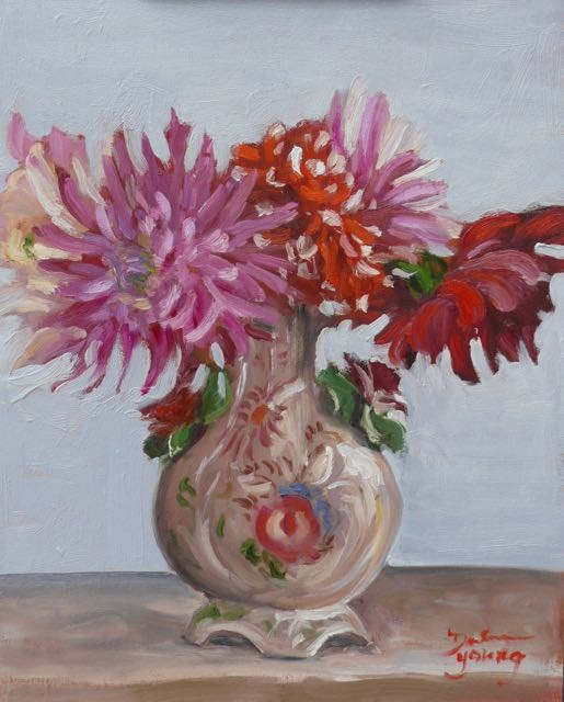 """956 Dahlias in an Italian Vase, 11x14, oil on board"" original fine art by Darlene Young"