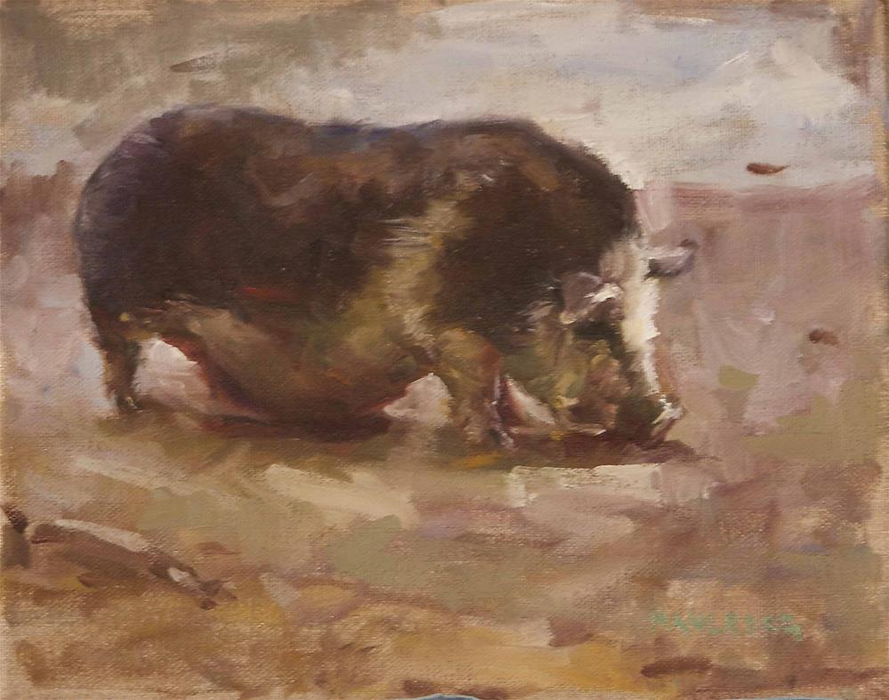 """Petunia Pig"" original fine art by Cynthia Mahlberg"