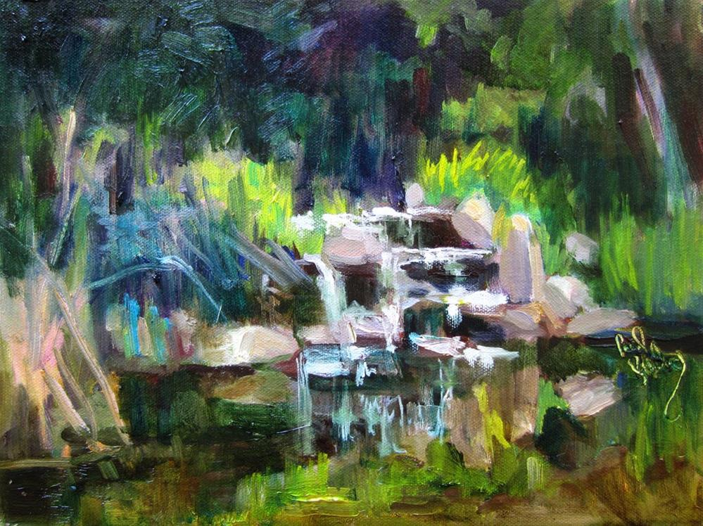 """Descanso Waterfall"" original fine art by Carol Steinberg"
