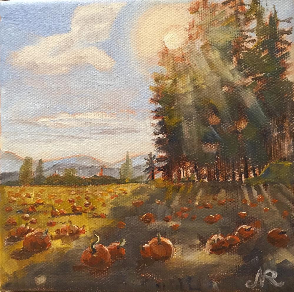 """Pumpkin patch"" original fine art by Natasha Ramras"