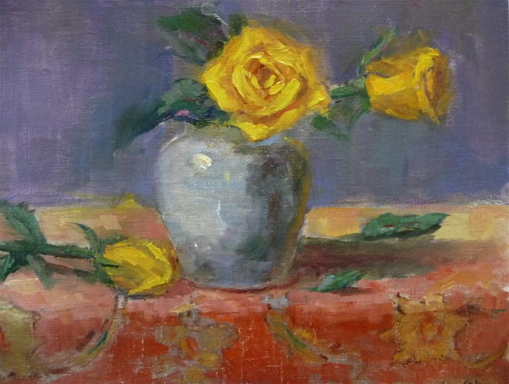 """Yellow roses"" original fine art by Carol Josefiak"