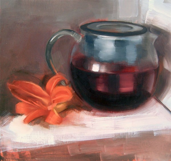 """Red Rooibos and Tiger Lily (no.70)"" original fine art by Michael William"