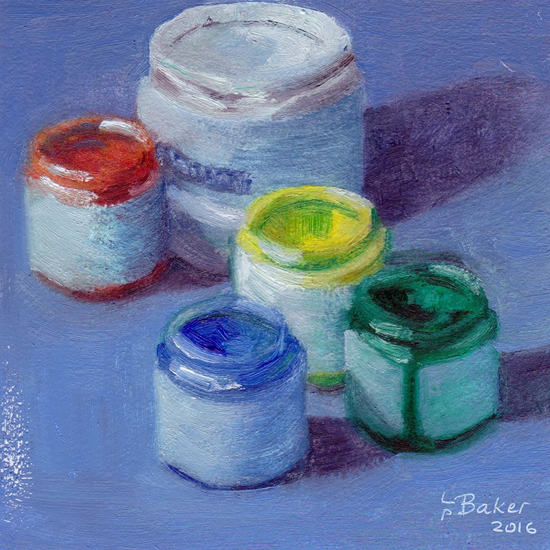 """Still Life with Genesis paint pots"" original fine art by Lindsay Baker"