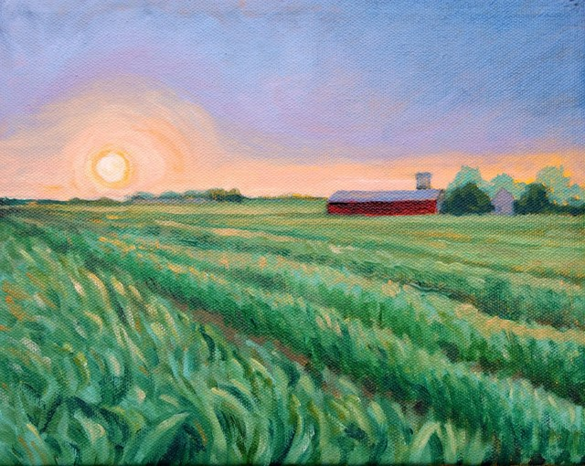 """Farm field at dusk"" original fine art by Hilary J. England"