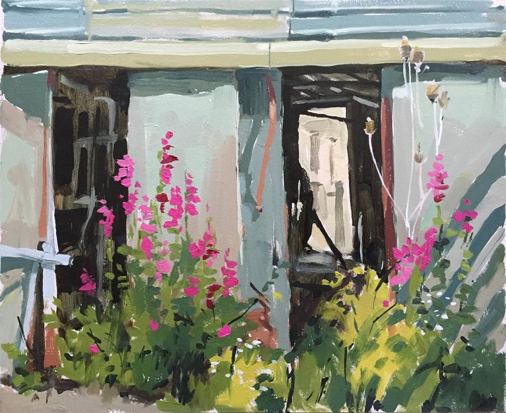 """Old milking parlour and snapdragons"" original fine art by Haidee-Jo Summers ROI"