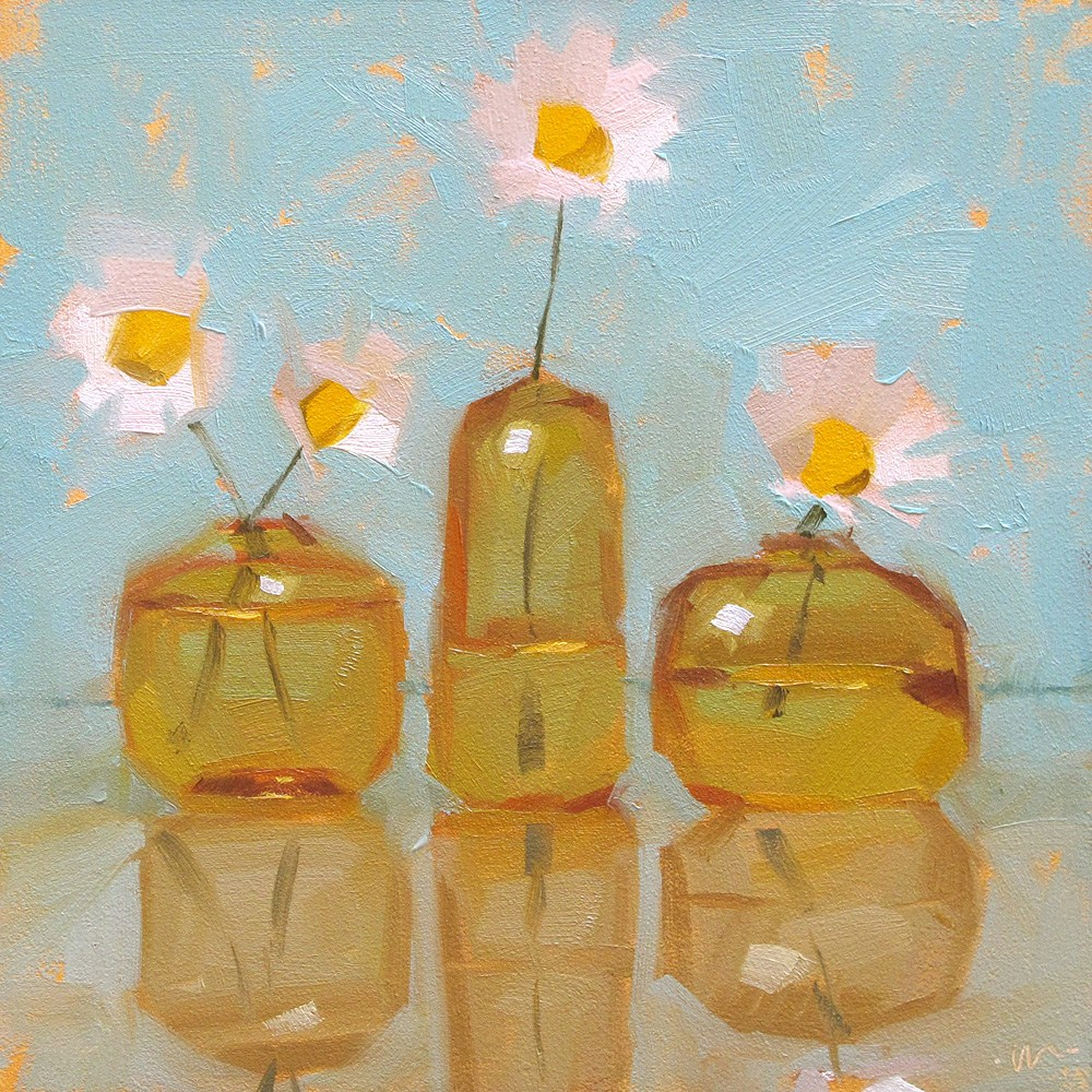 """Daisies In a Row"" original fine art by Carol Marine"
