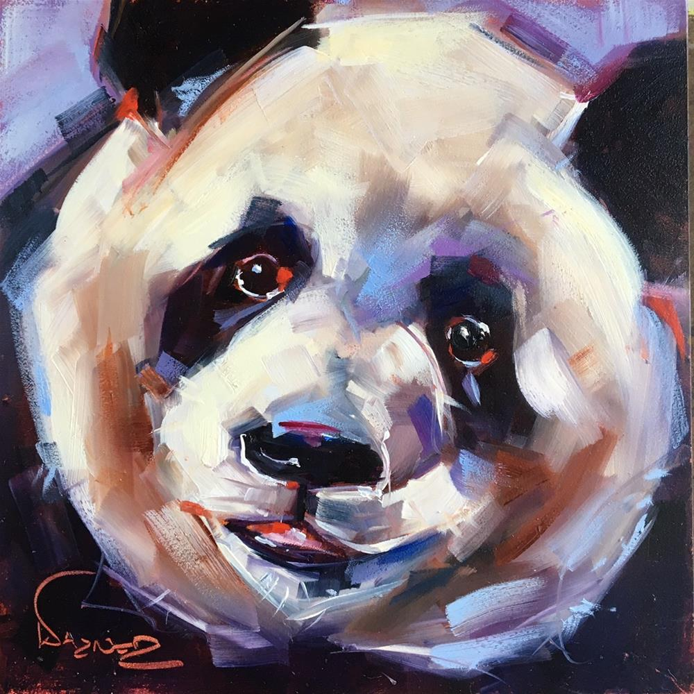 """ORIGINAL CONTEMPORARY PANDA BEAR Painting on Panel  in OILS by OLGA WAGNER"" original fine art by Olga Wagner"