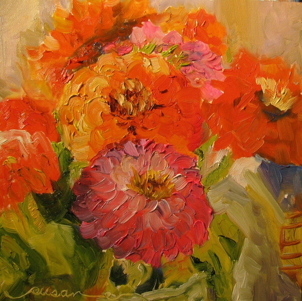 """Zinnias"" original fine art by Susan Elizabeth Jones"