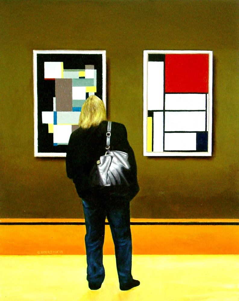 """Stylish- Art Within Art Painting Of Woman Enjoying Carl Buchheister And Piet Mondriaan"" original fine art by Gerard Boersma"