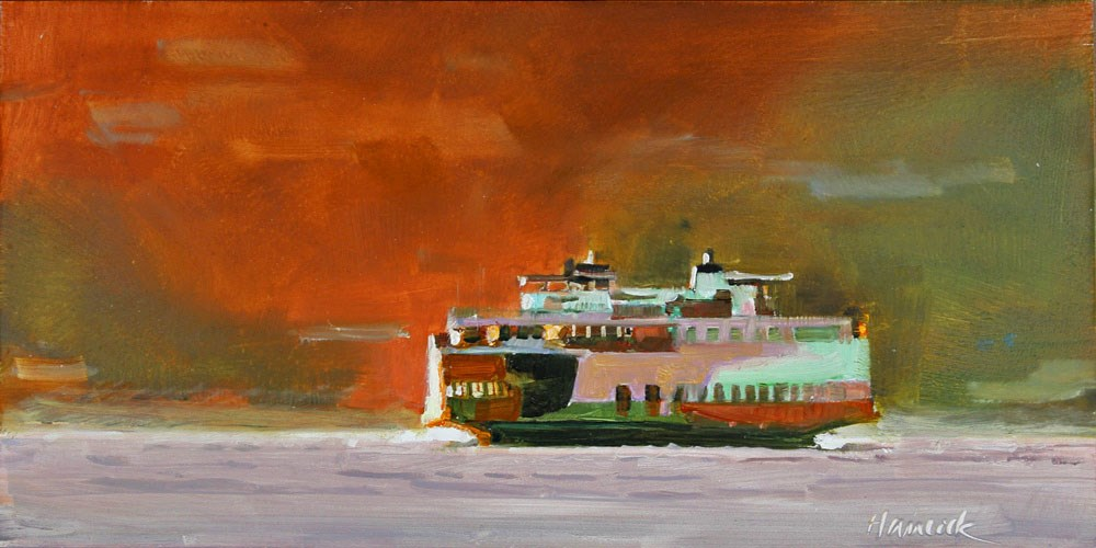 """Ferry and Red Hill"" original fine art by Gretchen Hancock"