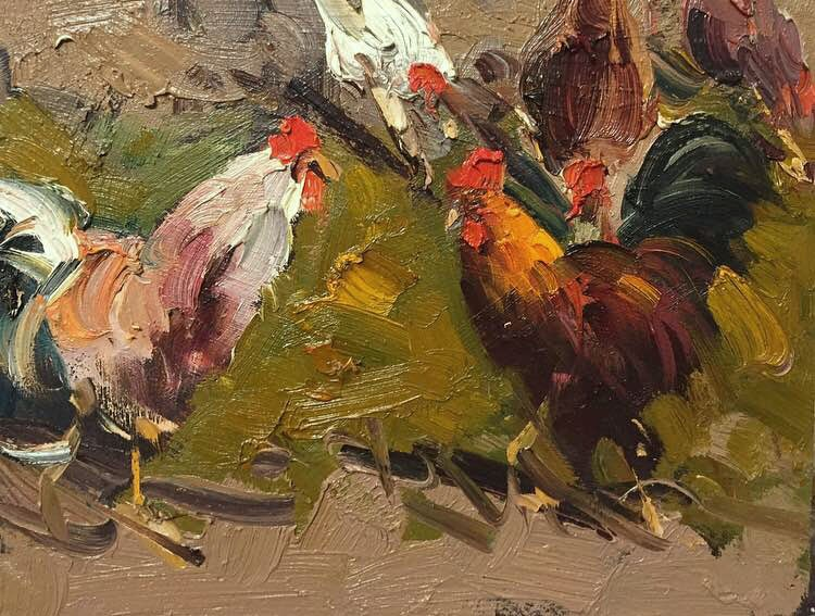 """Chikens"" original fine art by Mostafa Keyhani"
