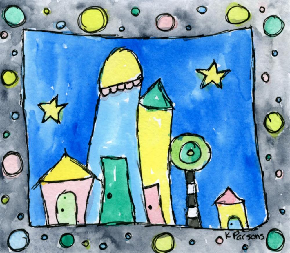"""Tiny Village"" original fine art by Kali Parsons"