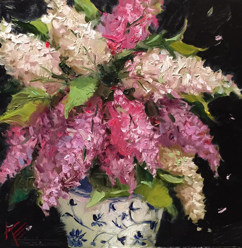 """Lilacs in Blue & White"" original fine art by Krista Eaton"