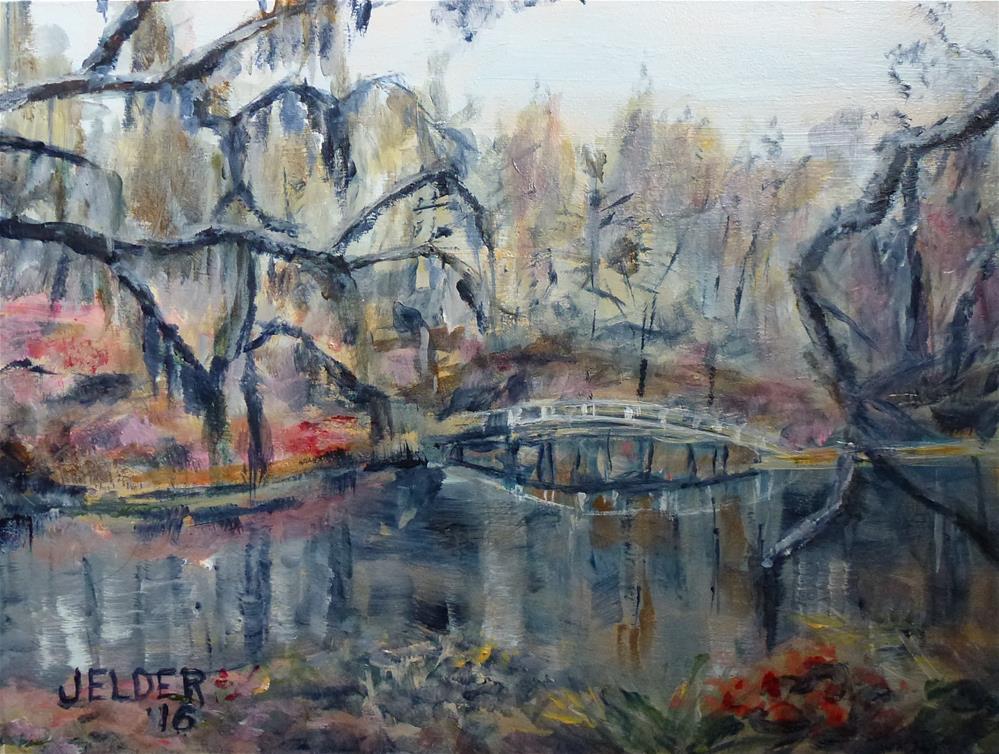 """Footbridge"" original fine art by Judith Elder"
