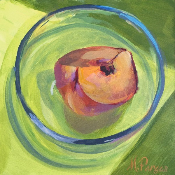 """Peachy Green"" original fine art by Mary Pargas"