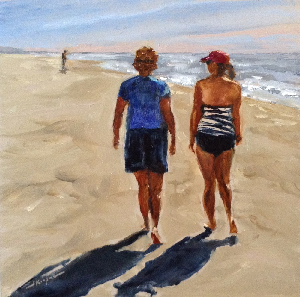 """Beach Walkers"" original fine art by Shelley Koopmann"