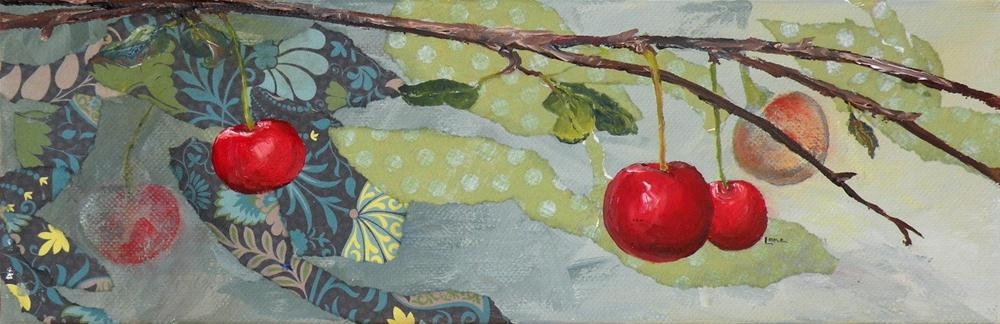 """CHERRIES THREE ORIGINAL MIXED MEDIA PAINTING OF CHERRIES © SAUNDRA LANE GALLOWAY"" original fine art by Saundra Lane Galloway"