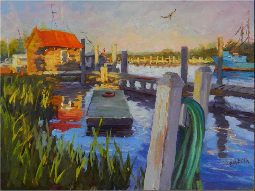 """Autumn on Shrimp Boat Lane, 12x16, oil on masonite, Shem's Creek, Shrimp Boat Lane, Mt. Pleasant I"" original fine art by Maryanne Jacobsen"