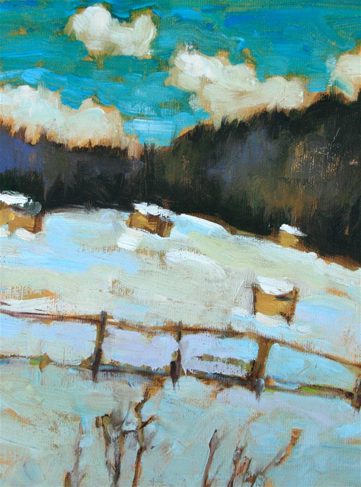 """Winter Hay Bales"" original fine art by Jane Robertson"