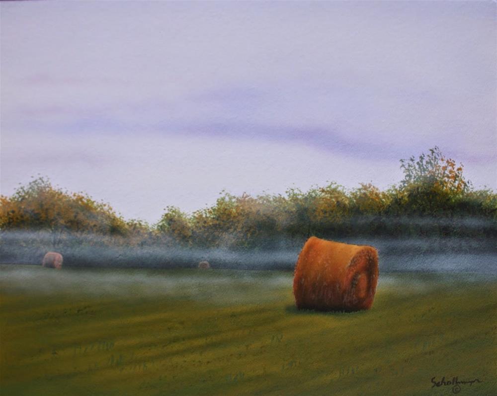 """Foggy Morning Hay Field"" original fine art by Fred Schollmeyer"