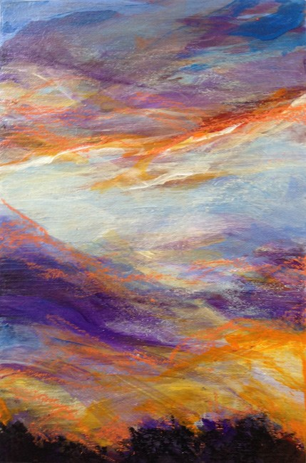 """PURPLE WISPS - 6 x 4 acrylic + pastels on wood by Susan Roden"" original fine art by Susan Roden"