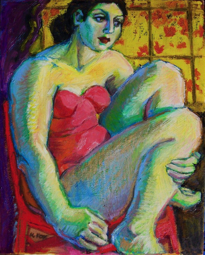"""Autumn, figurative oil painting, figuration, figure painter, woman in art"" original fine art by Marie Fox"