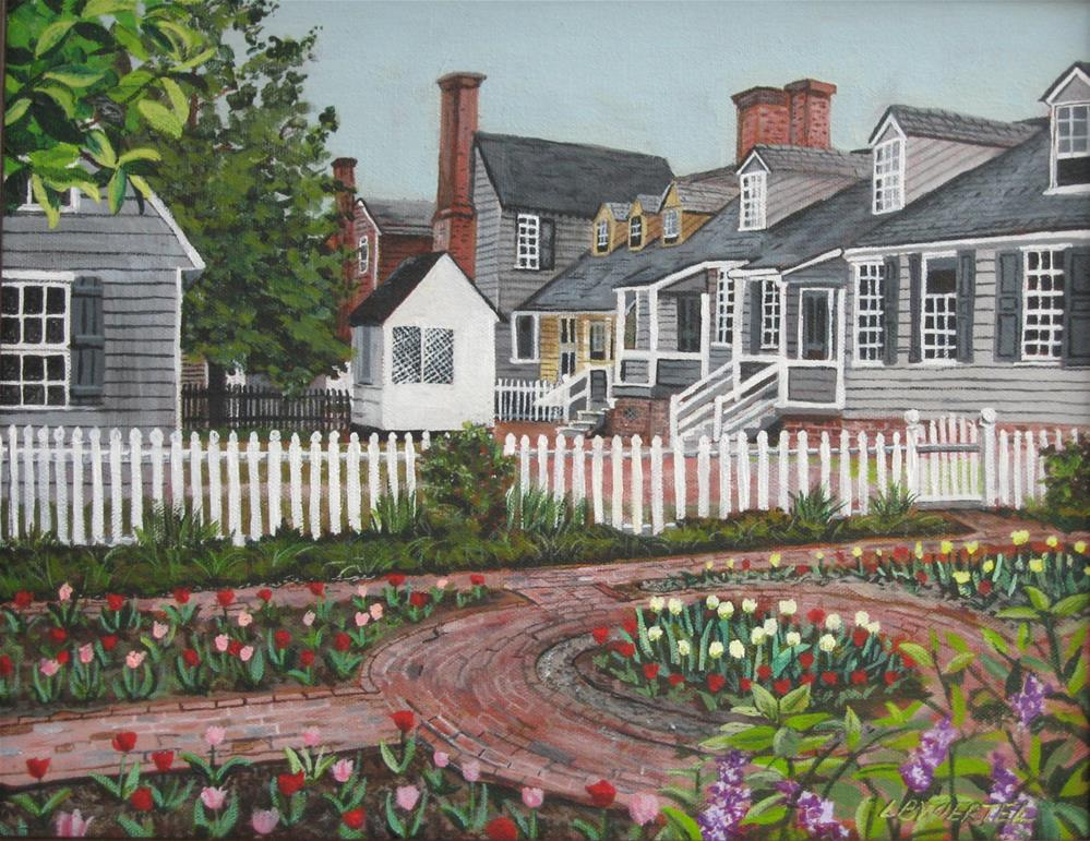 """View Behind Raleigh Tavern, Colonial Williamsburg, Virginia"" original fine art by Lisa Wiertel"