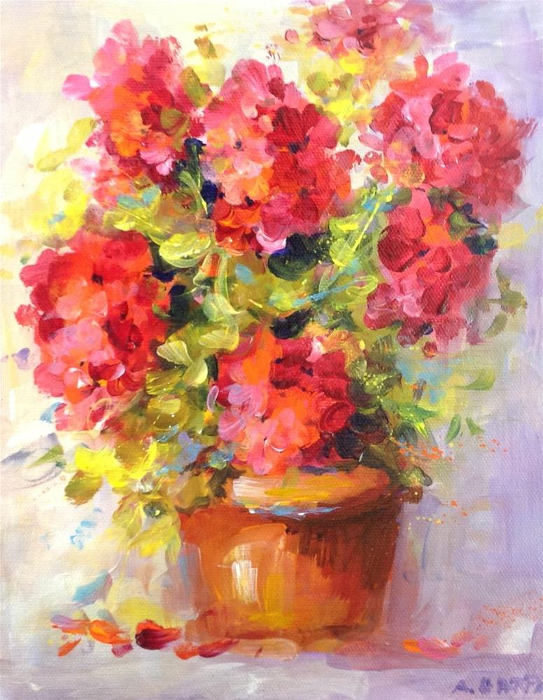 """Original red geranium flower floral still life home decor"" original fine art by Alice Harpel"