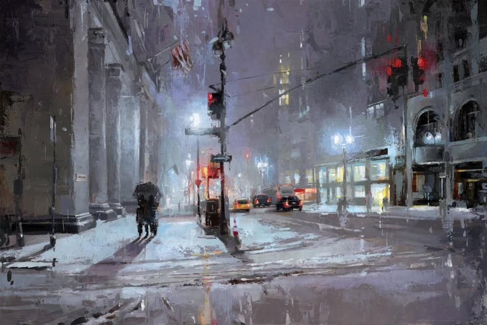 """NYC winter storm"" original fine art by Victor Bauer"