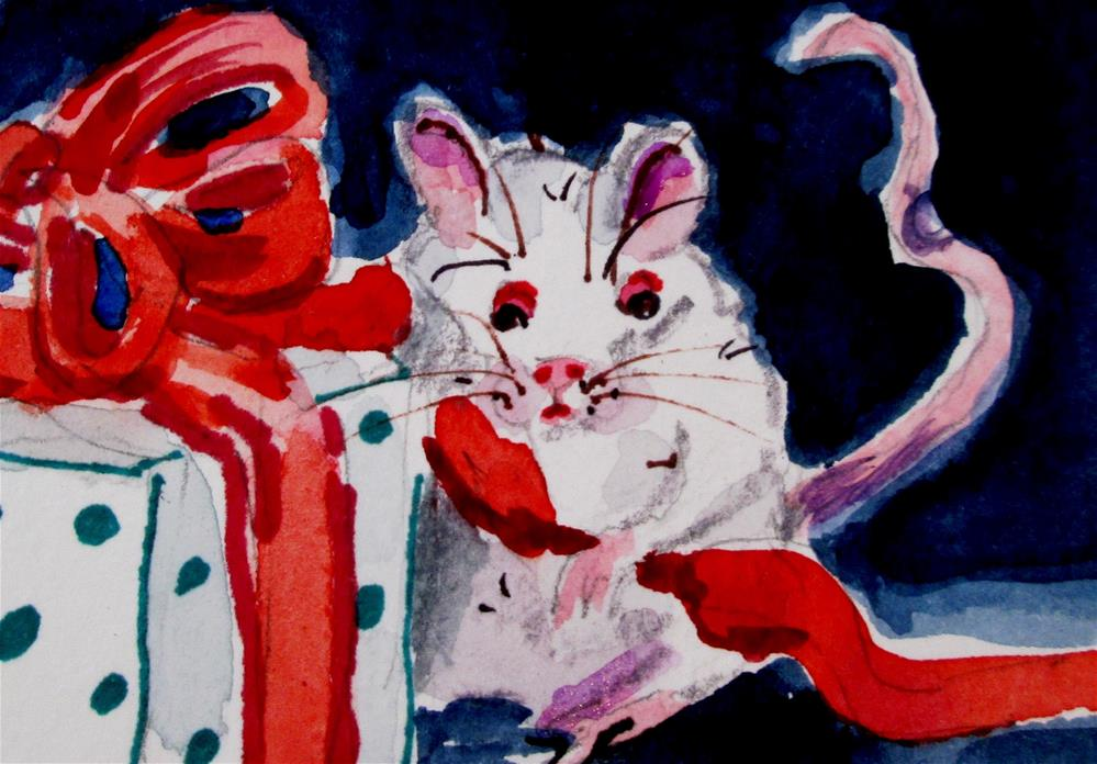 """Christmas Mouse Aceo"" original fine art by Delilah Smith"