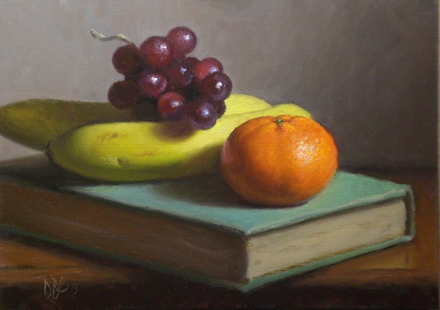 """Fruit and Story Book"" original fine art by Debra Becks Cooper"