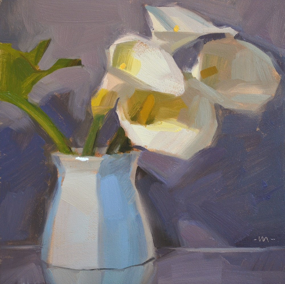 """Lilies of the Striped Vase"" original fine art by Carol Marine"