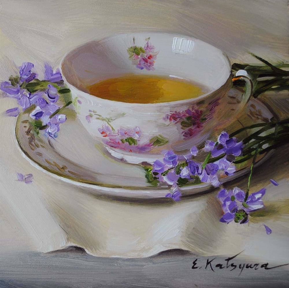 """""""Green Tea"""" original fine art by Elena Katsyura"""
