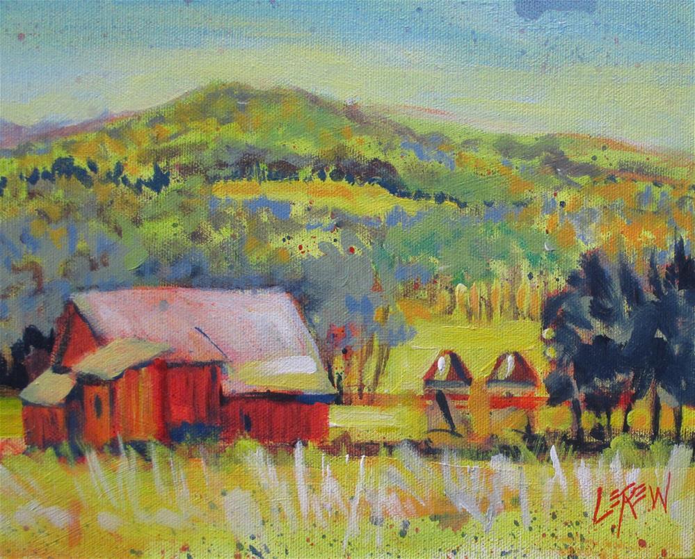 """""""Spring Farm Corn Cribs by Larry Lerew 150303"""" original fine art by Larry Lerew"""