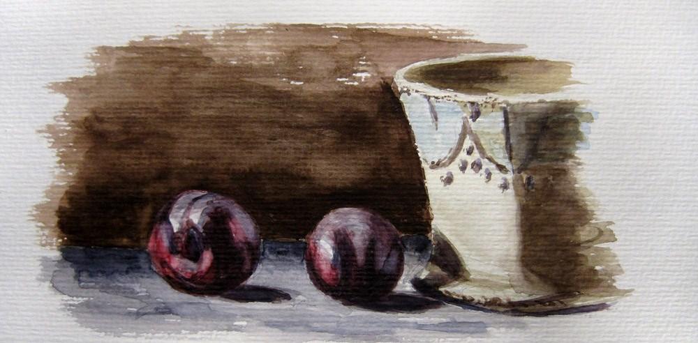 Plums and Mug original fine art by Ulrike Miesen-Schuermann