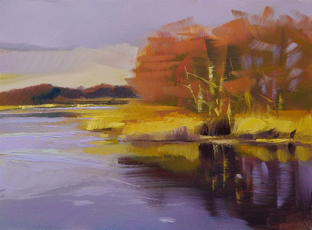 """yellow lake"" original fine art by Beata Musial-Tomaszewska"