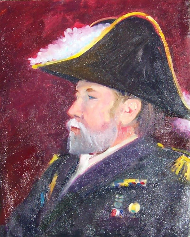 """Wade in Ship of Fools, portrait,oil on canvas pad,20x16,price$NFS"" original fine art by Joy Olney"
