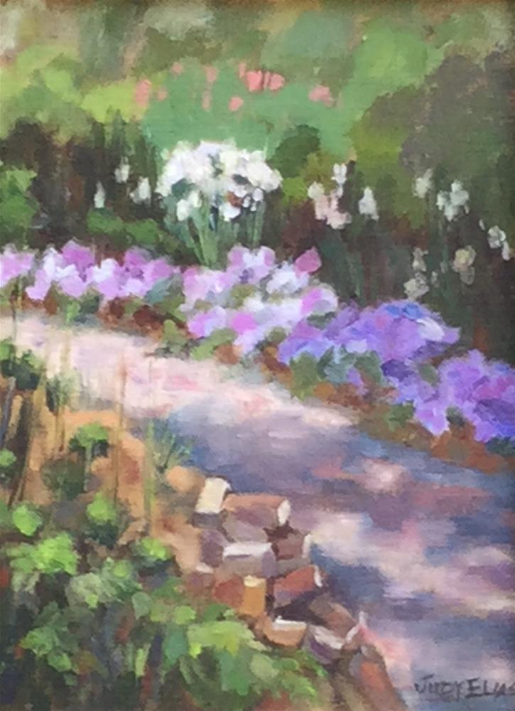 """In the Garden at Booth Hall Plantation"" original fine art by Judy Elias"