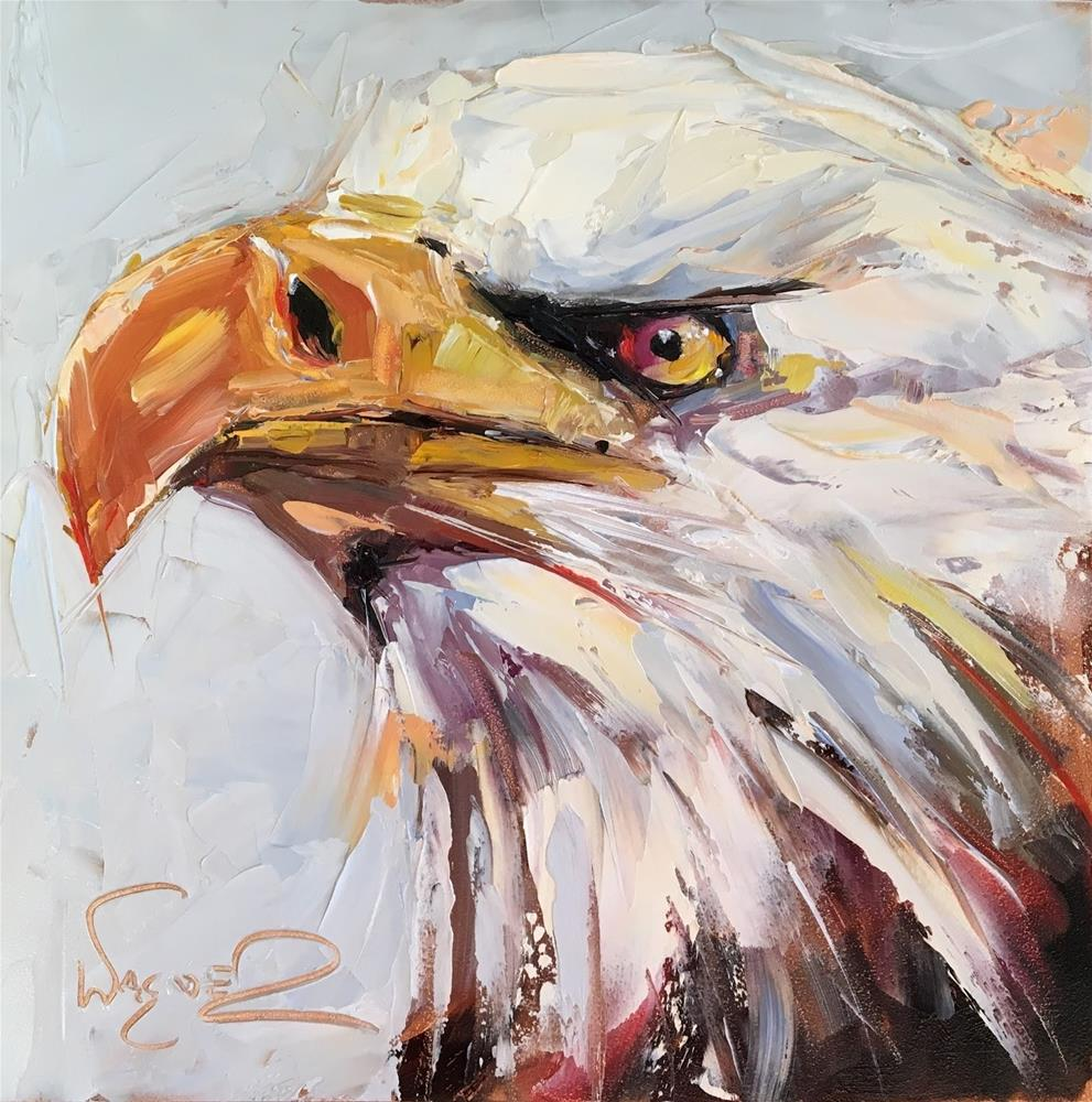 """ORIGINAL CONTEMPORARY BALD EAGLE PAINTING in OILS by OLGA WAGNER - 12 DAYS OF GREY"" original fine art by Olga Wagner"