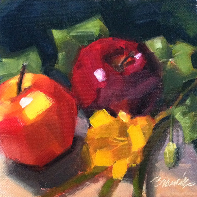 """Lily, Apples & Ivy"" original fine art by Candace Brancik"