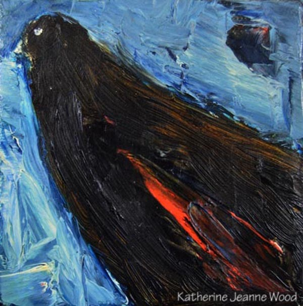 """Blackbird oil painting – Bird Series No 35"" original fine art by Katie Jeanne Wood"