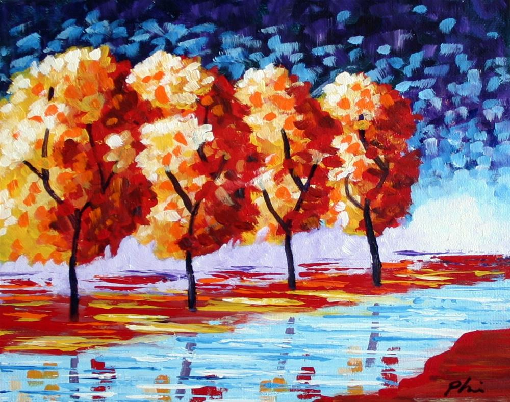 """""""TREES BY THE CREEK"""" original fine art by Bob Phillips"""