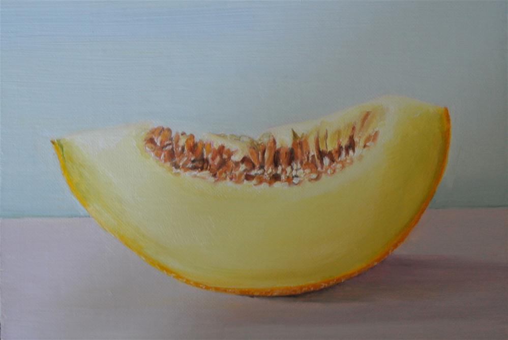 """Cantaloupe Melon Slice"" original fine art by James Coates"