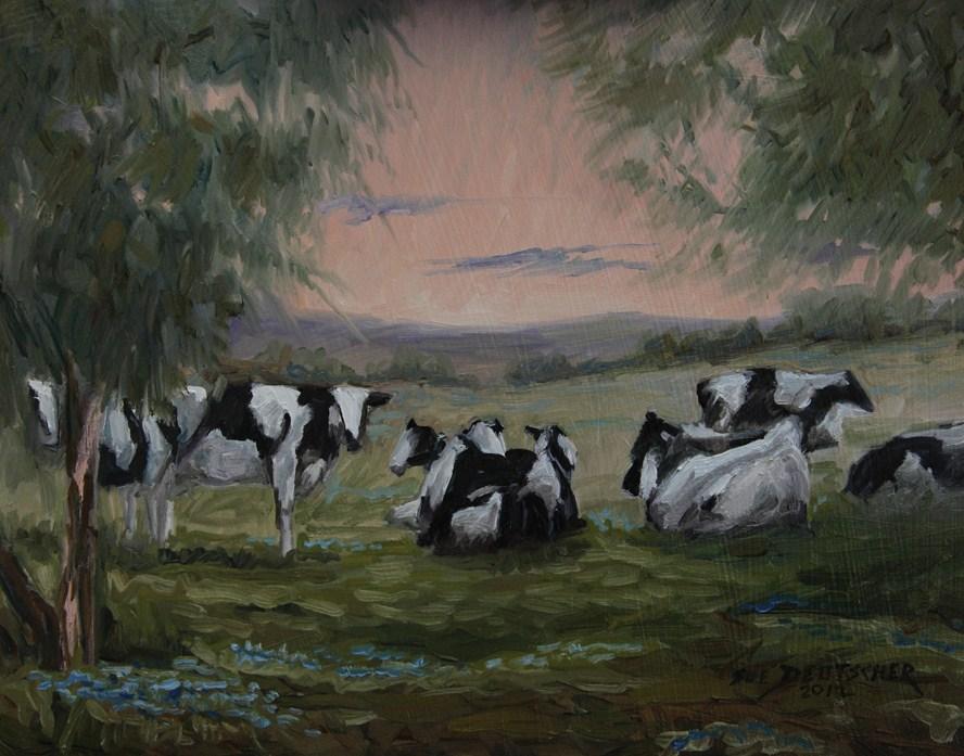 """""""Dairy Cows - Holsteins"""" original fine art by Sue Deutscher"""