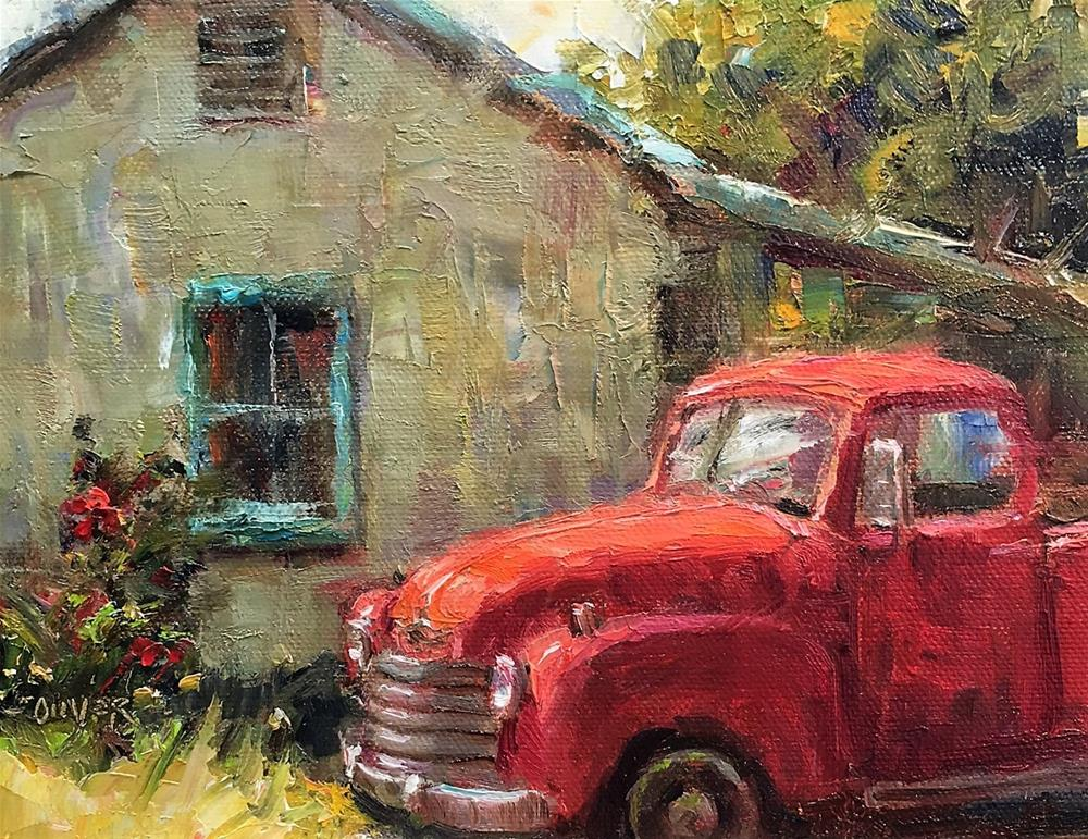 """""""The Old Red Chevy"""" original fine art by Julie Ford Oliver"""