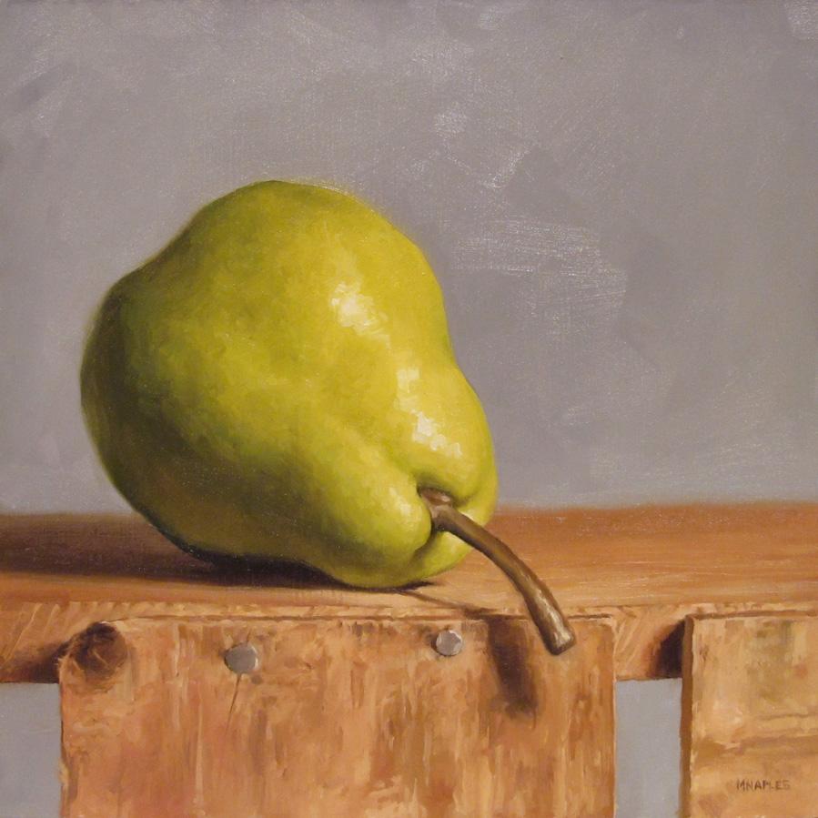 """Peeking Pear"" original fine art by Michael Naples"