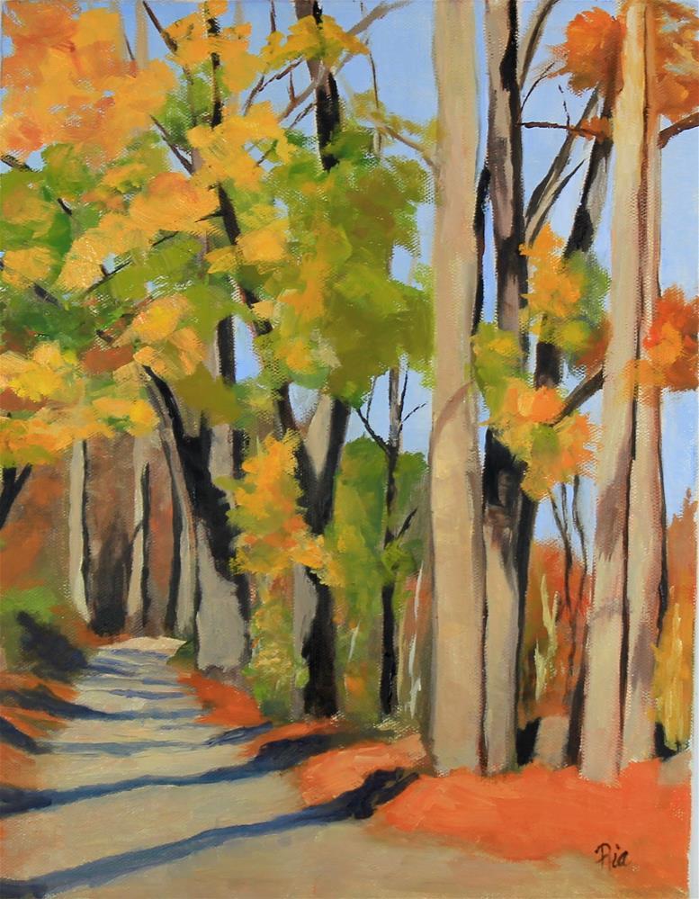 """Autumn Path"" original fine art by Maria Reed"