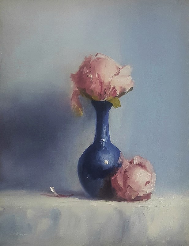 """Peony Bud Vase"" original fine art by Neil Carroll"