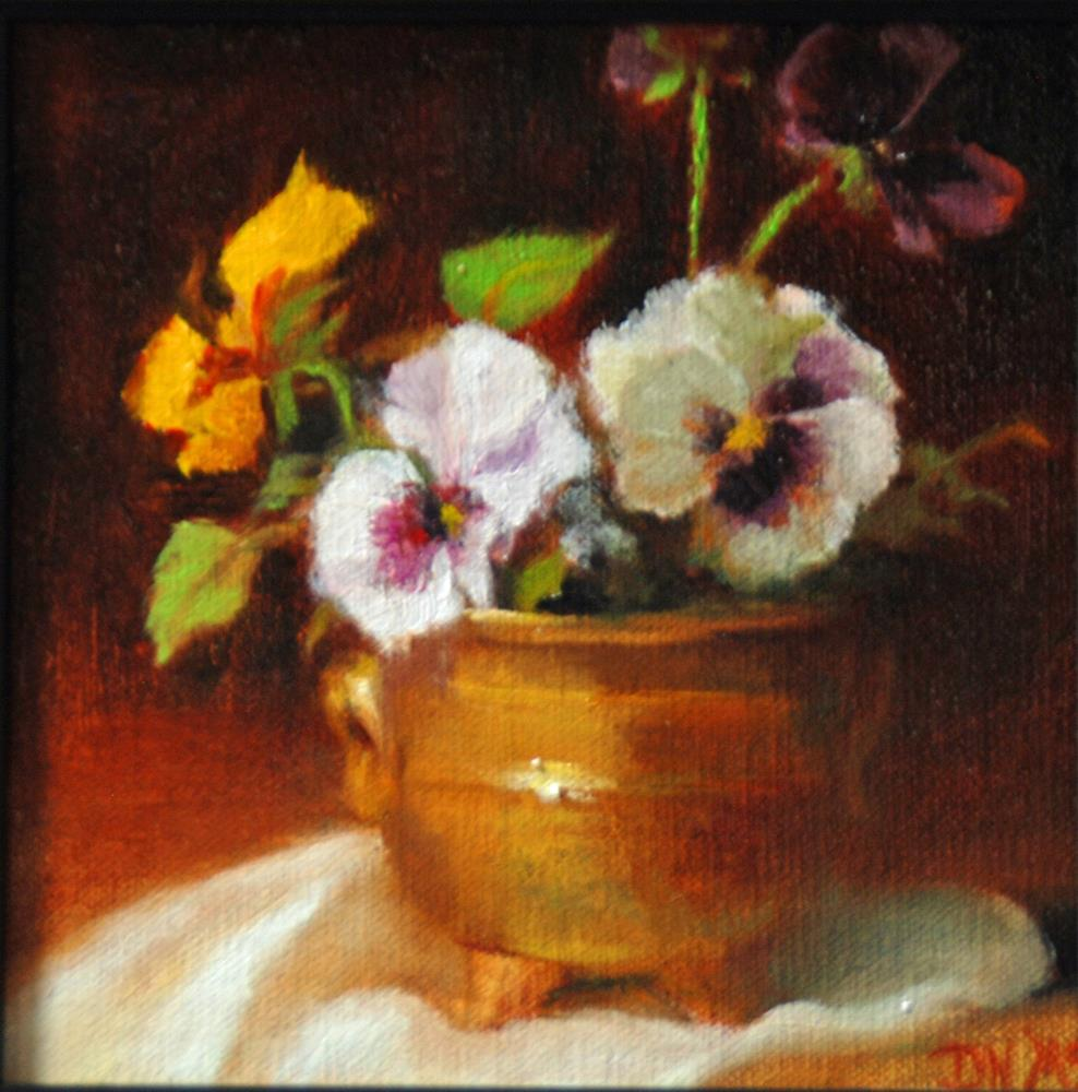 """Pansies and Brass"" original fine art by Dorothy McLennan"